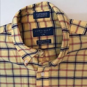 🌻TownCraft Mens yellow plaid short sleeve shirt